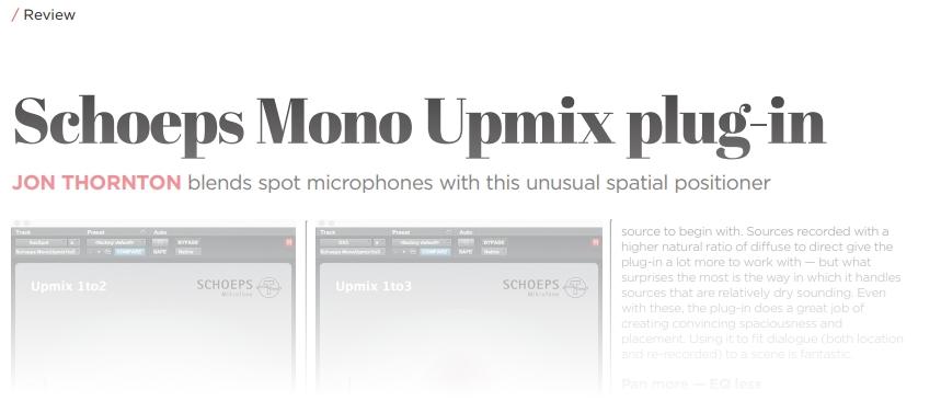 Mono Upmix Plugin | SCHOEPS Mikrofone